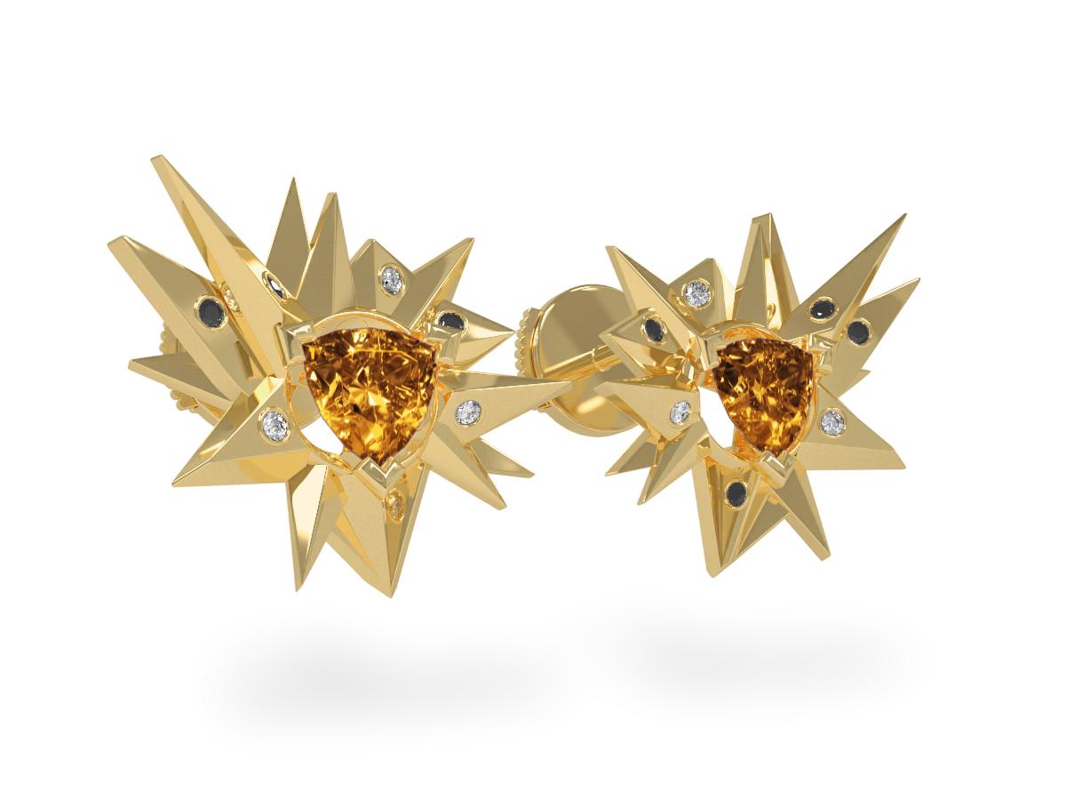 Boucles d'oreilles Fleur de Givre Sun Glacier Black & White - Diamants blancs et noirs - Citrine  Trillion <br> Or jaune 18 carats