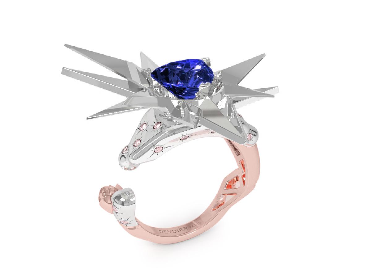 Bague Night Glacier Pink - Diamants roses - Tanzanite Trillion <br> Or rose & blanc 18 carats