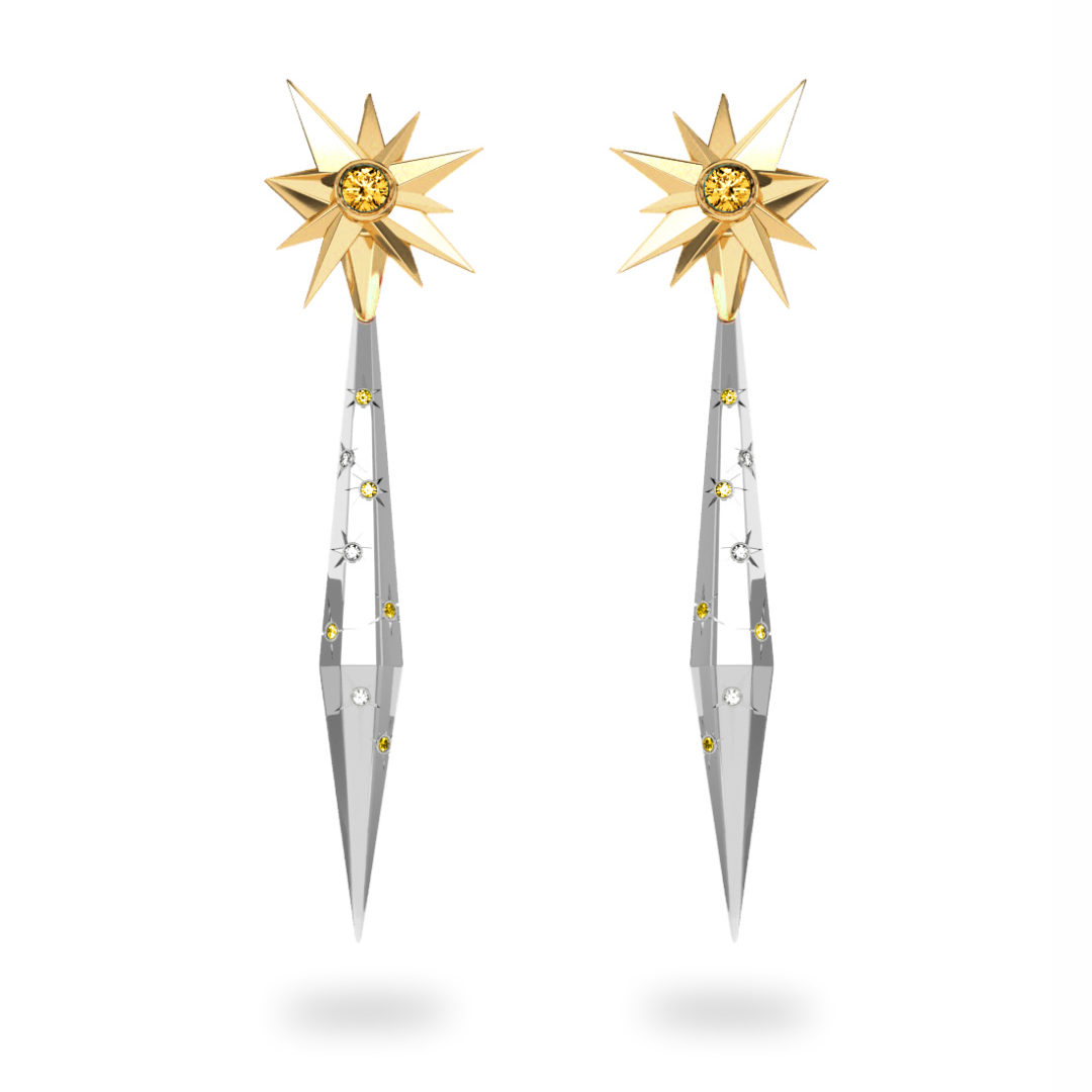 Boucles d'oreilles glaçon Sun Glacier Yellow & White - Diamants blancs et jaunes - Citrine Trillion <br> Or jaune 18 carats