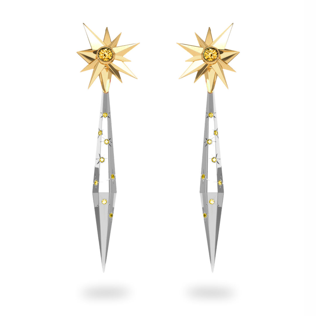 Boucles d'oreilles glaçon Sun Glacier Yellow - Diamants jaunes - Citrine Trillion <br> Or jaune 18 carats