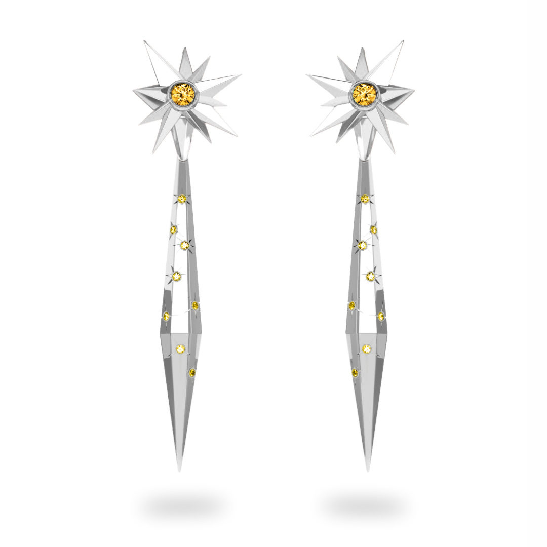 Boucles d'oreilles glaçon Sun Glacier Yellow - Diamants jaunes - Citrine Trillion <br> Or blanc 18 carats
