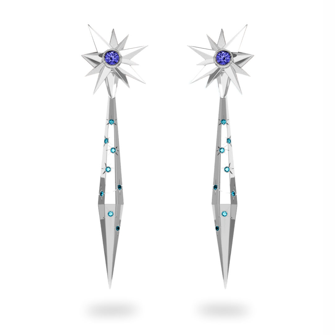 Boucles d'oreilles glaçon Night Glacier Blue - Diamants bleus - Tanzanite Trillion <br> Or blanc 18 carats