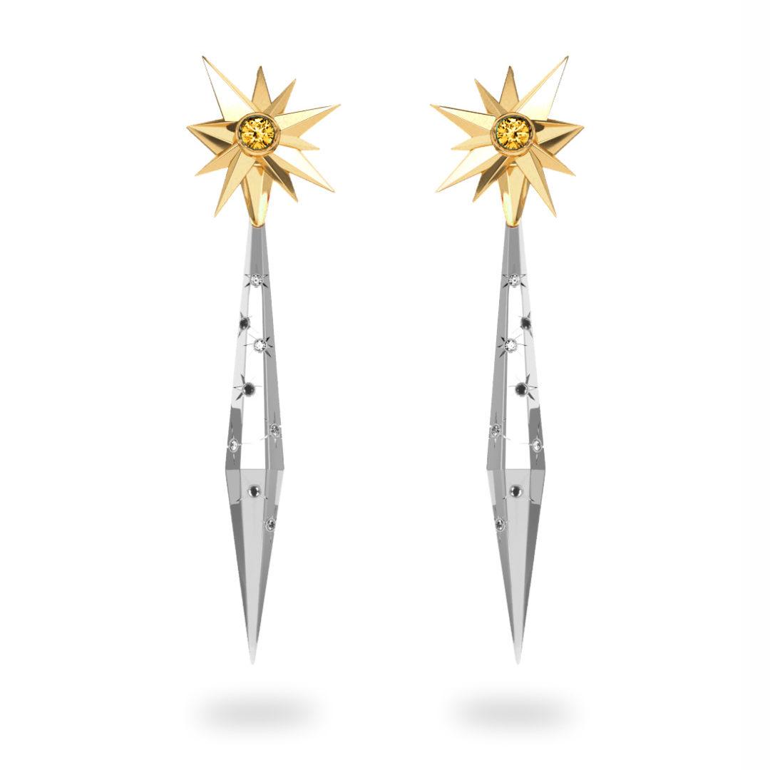 Boucles d'oreilles glaçon Sun Glacier Black & White - Diamants blancs et noirs - Citrine  Trillion <br> Or jaune 18 carats