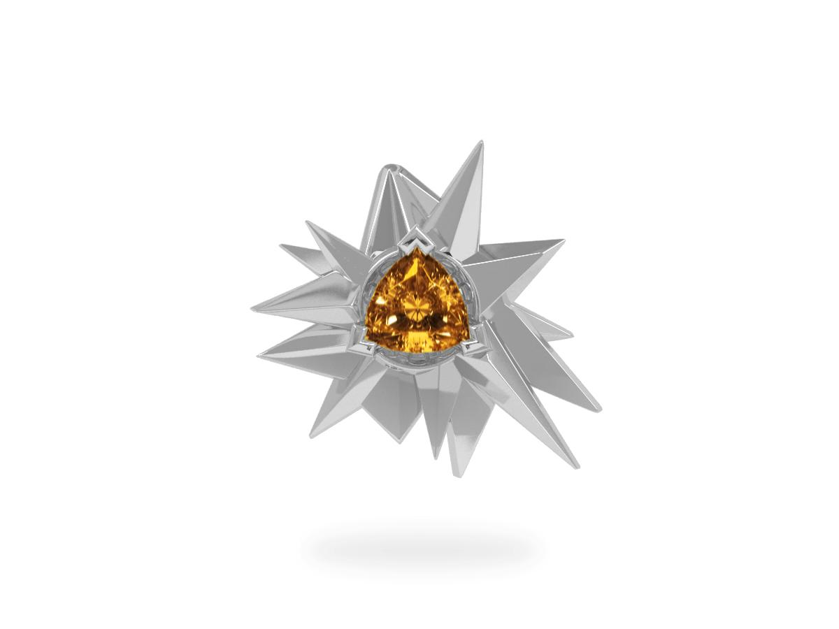 Pendentif Fleur de Givre Sun - Citrine Trillion <br> Or blanc 18 carats