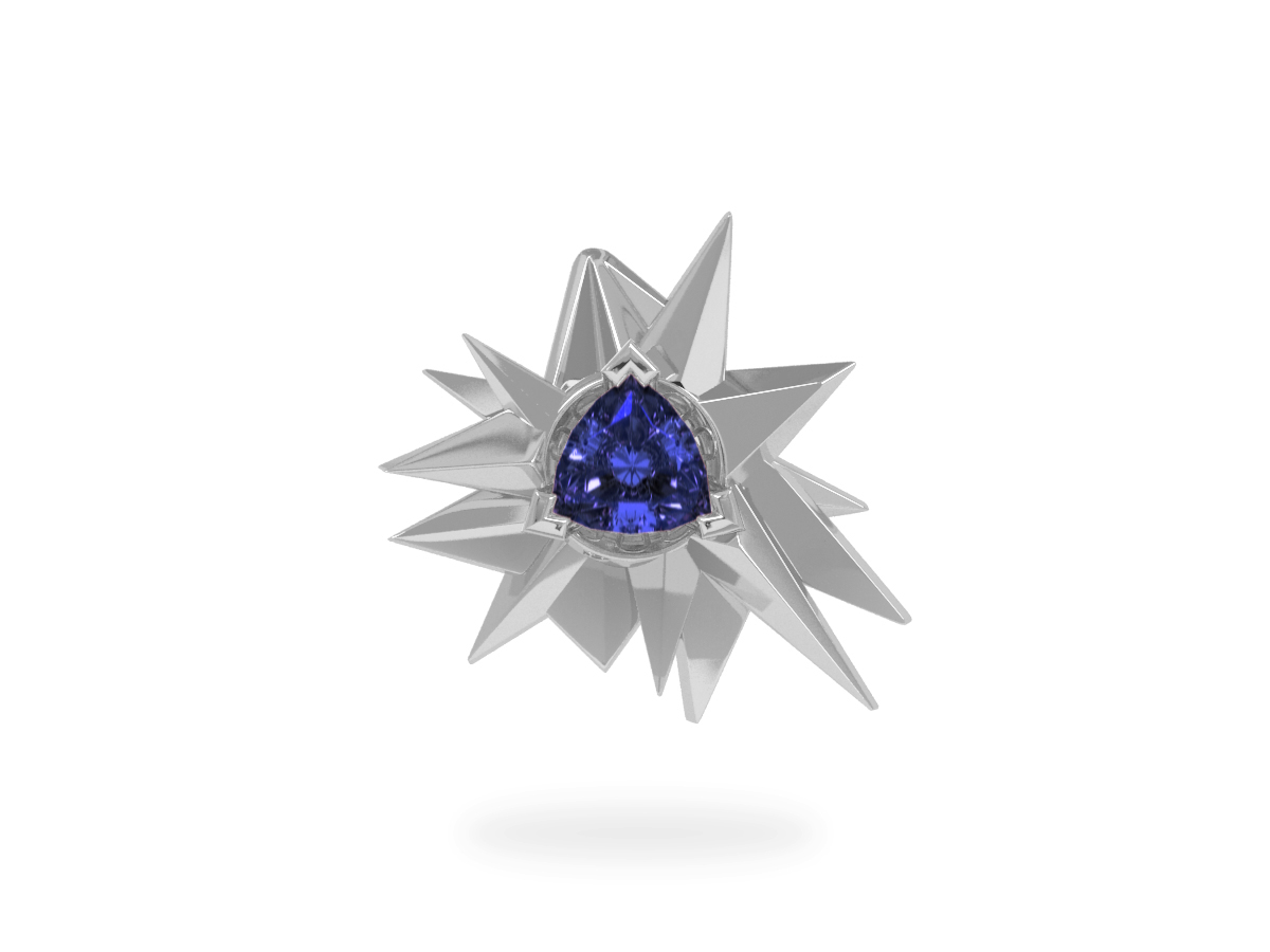 Pendentif Fleur de Givre Night - Tanzanite Trillion <br> Or blanc 18 carats