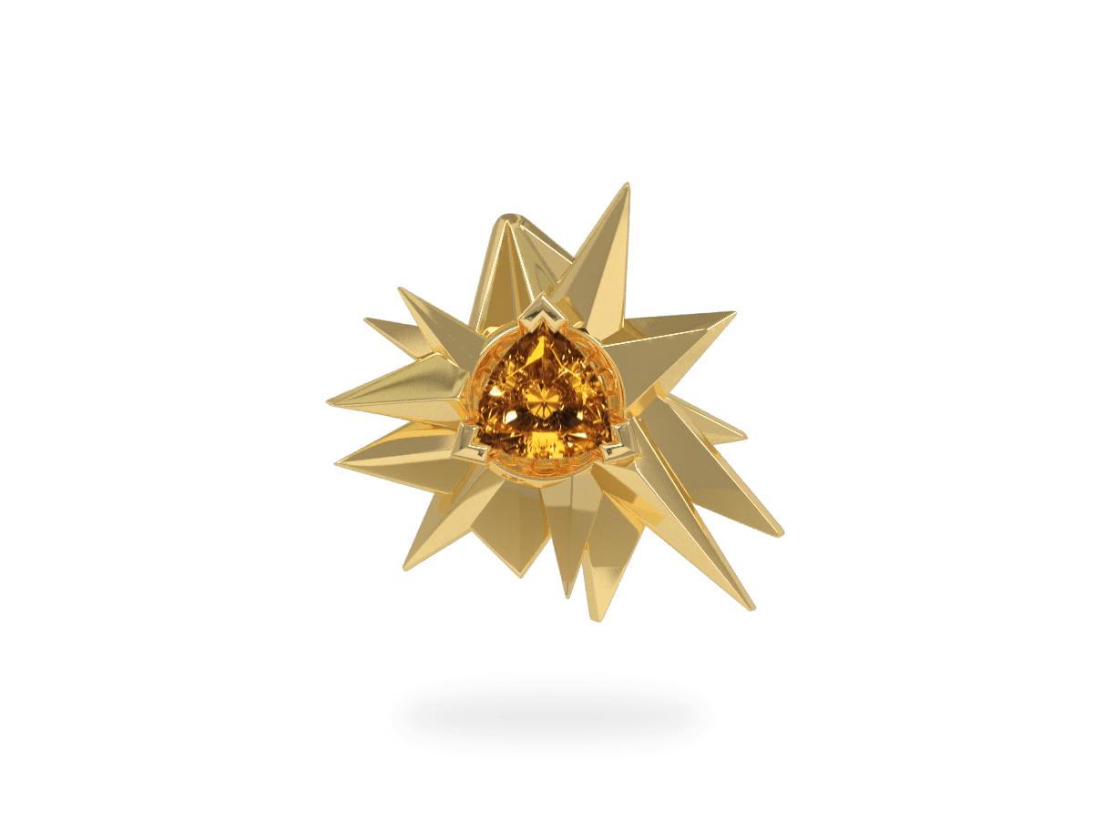 Pendentif Fleur de Givre Sun - Citrine Trillion <br> Or blanc & jaune 18 carats