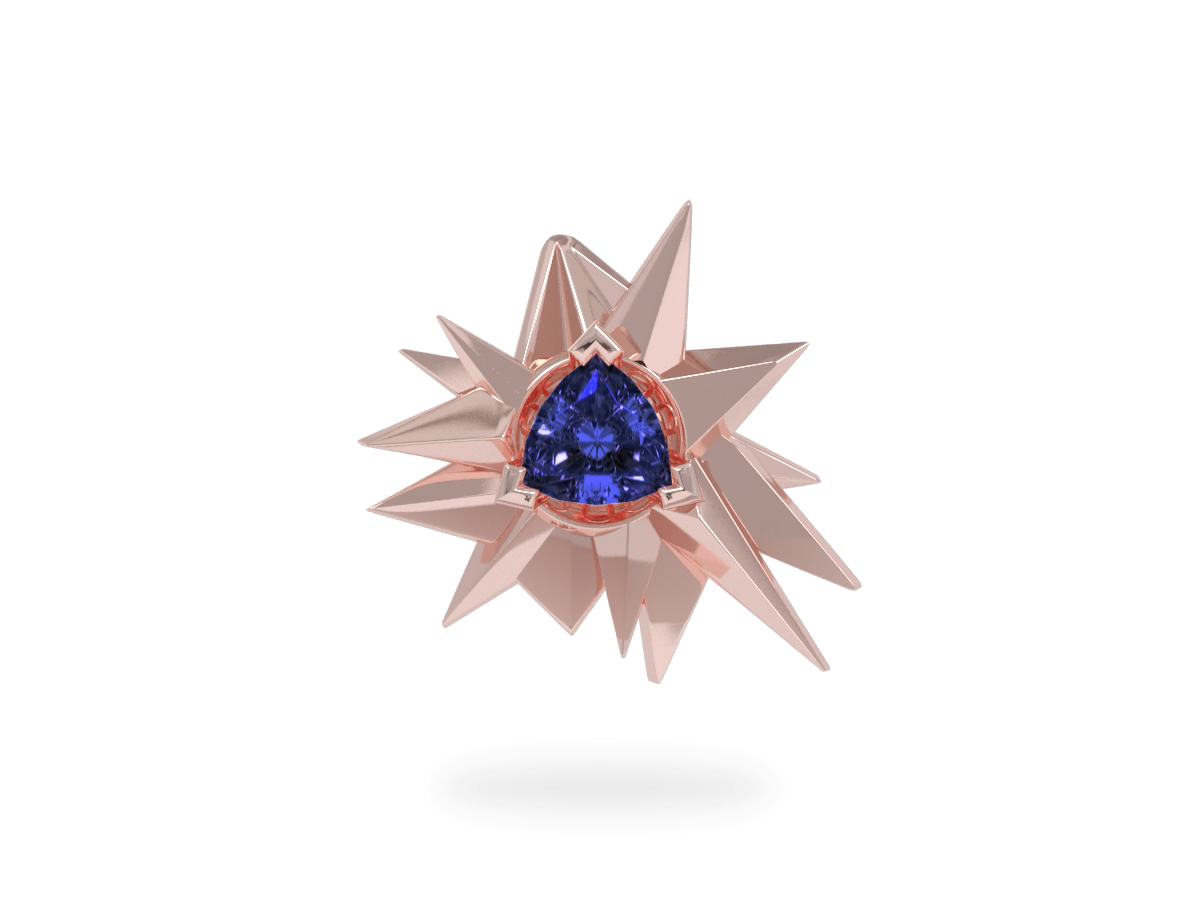 Pendentif Fleur de Givre Night - Tanzanite Trillion <br> Or blanc & rose 18 carats