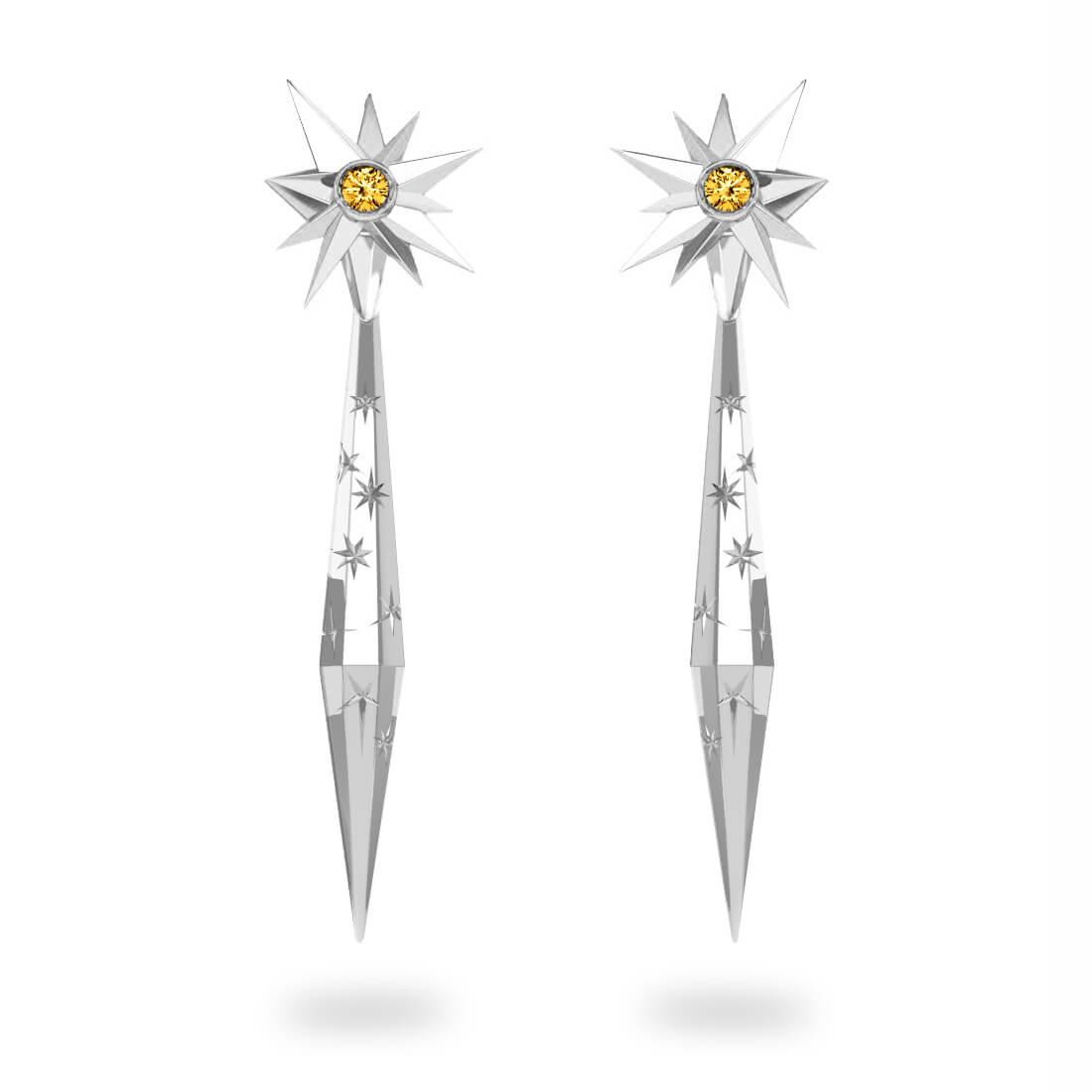 Boucles d'oreilles glaçon Sun - Citrine Trillion <br>Gravures polies étoiles<br/>  Or blanc 18 carats