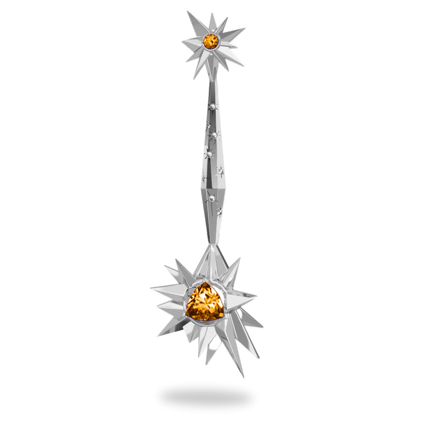Pendentif Glaçon Sun Glacier White - Diamants blancs - Citrine Trillion <br> Or blanc 18 carats