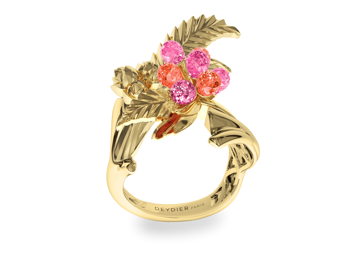 Bague Flowers Leaves Pink & Purple - Saphirs briolettes roses & violets - Or jaune 18 carats