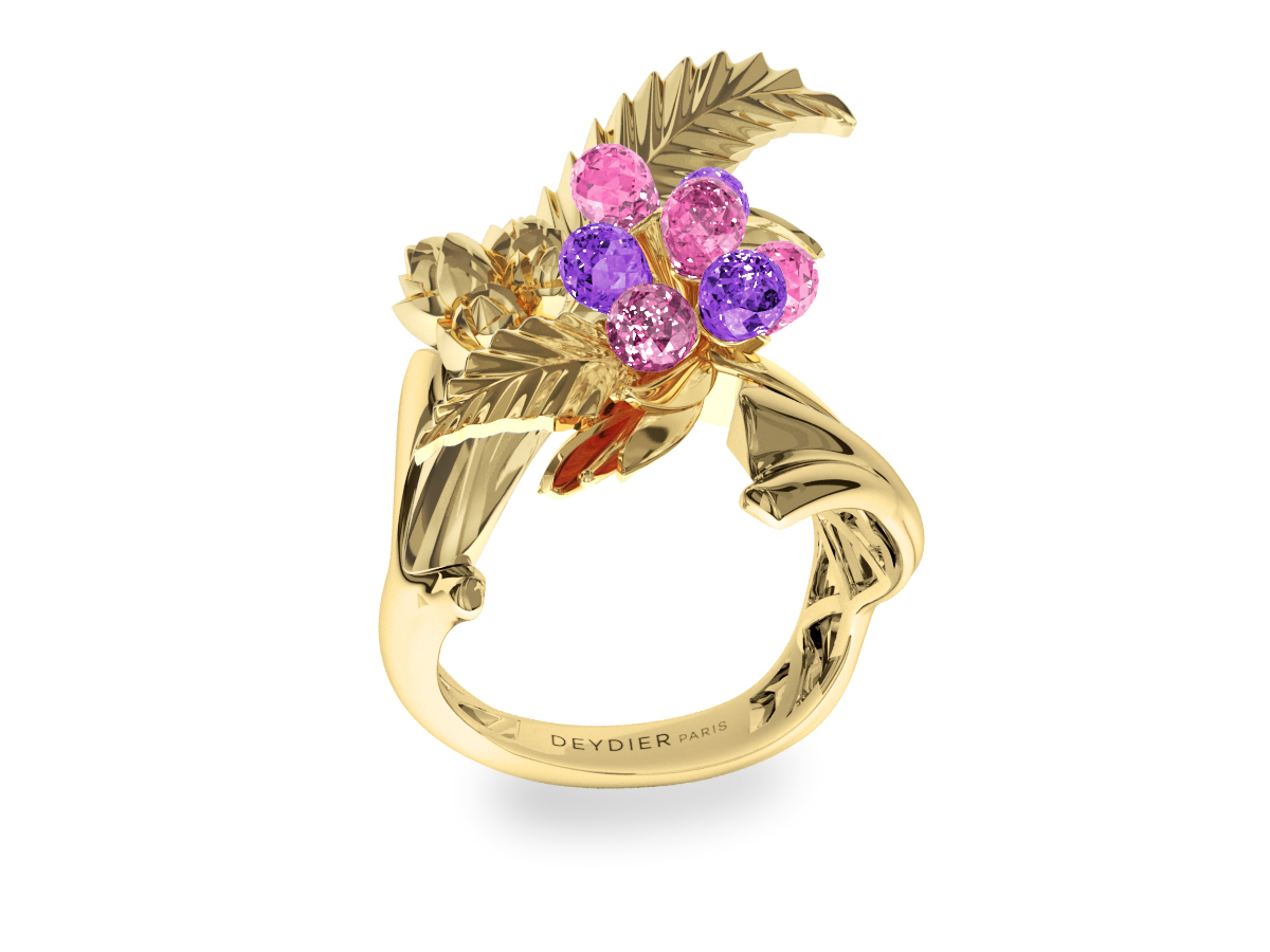 Bague Flowers Leaves Pink & Padparadsha - Saphirs briolettes roses & padparadsha - Or jaune 18 carats