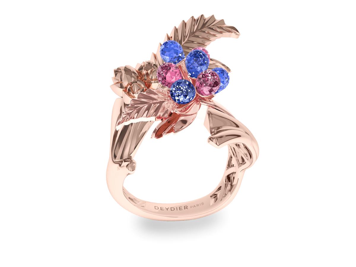 Bague Flowers Leaves Blue & Pink - Saphirs briolettes bleus & roses - Or rose 18 carats