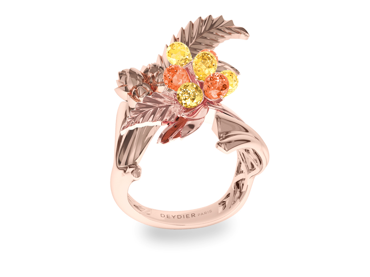 Bague Flowers Leaves Yellow & Orange - Saphirs briolettes jaunes & oranges - Or rose 18 carats