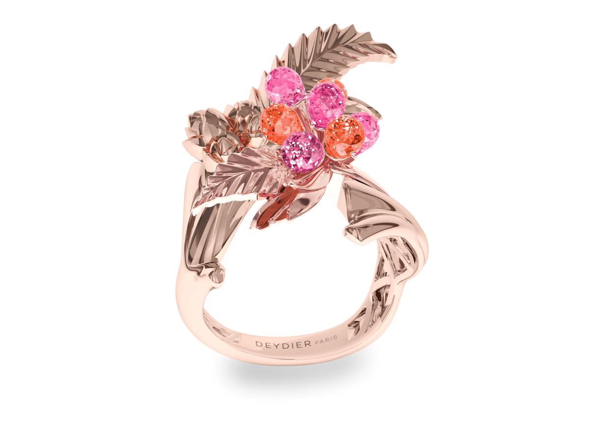Bague Flowers Leaves Pink & Purple - Saphirs briolettes roses & violets - Or rose 18 carats