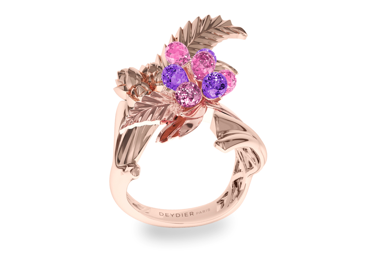 Bague Flowers Leaves Pink & Padparadsha - Saphirs briolettes roses & padparadsha - Or rose 18 carats