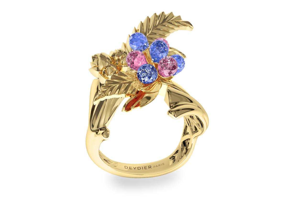 Bague Flowers Leaves Blue & Pink - Saphirs briolettes bleus & roses - Or jaune 18 carats