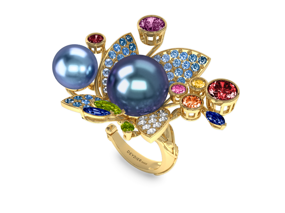 Bague Pearly Angel Peacock & Céleste - Saphirs, diamants, peridots & perles de Tahiti <br /> Or jaune 18 carats