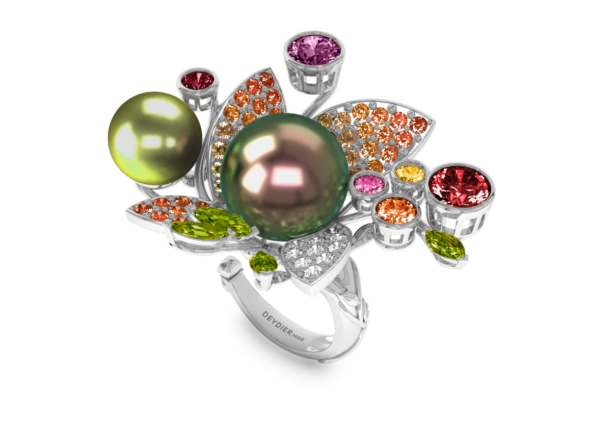 Bague Pearly Angel Peacock & Pistache - Saphirs, diamants, peridots & perles de Tahiti <br /> Or blanc 18 carats