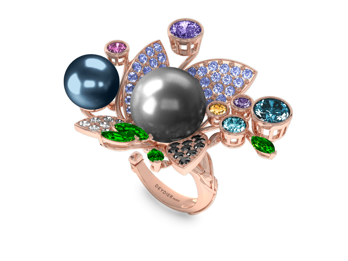 Bague Pearly Angel Grise & Bleu - Saphirs, diamants, tsavorites & perles de Tahiti <br /> Or blanc 18 carats