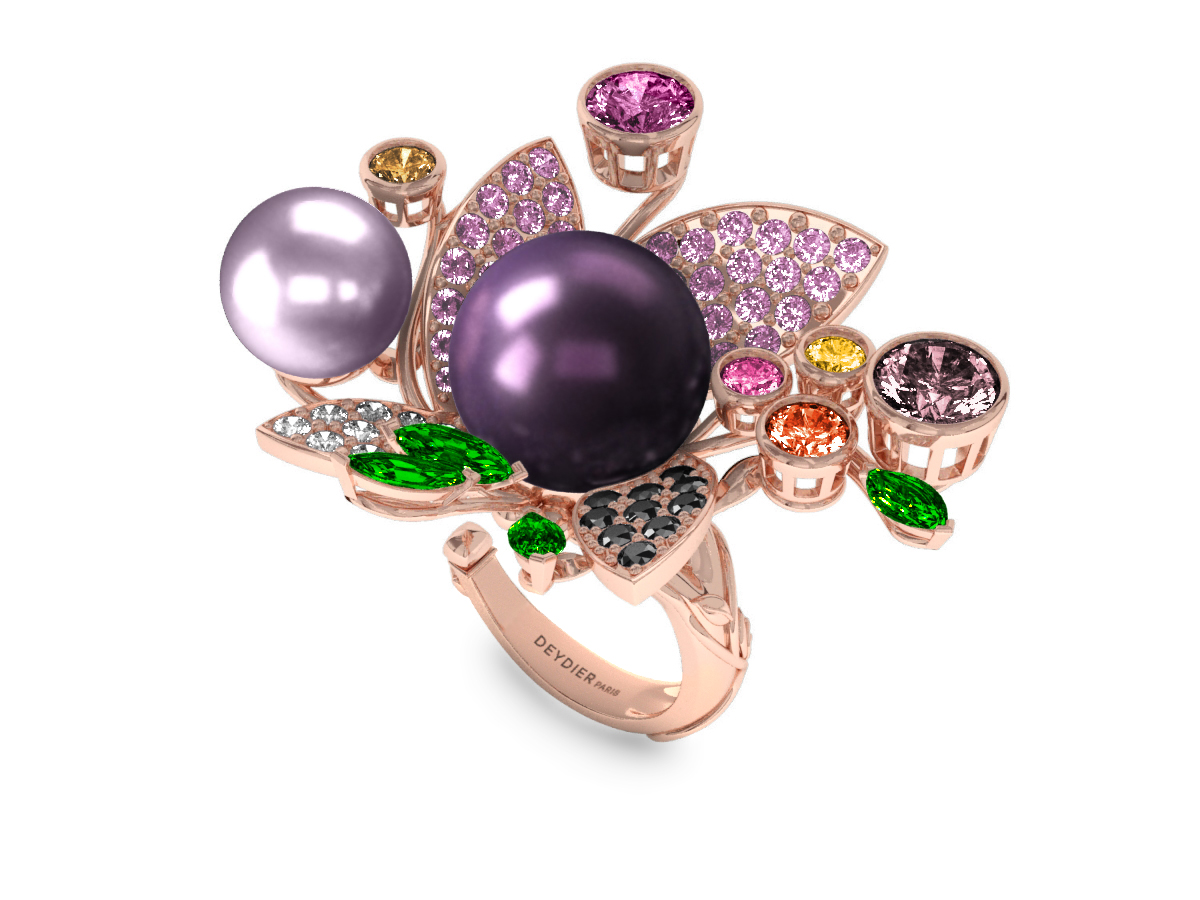Bague Pearly Angel Aubergine & Mauve - Saphirs, diamants, tsavorites & perles de Tahiti <br /> Or jaune 18 carats