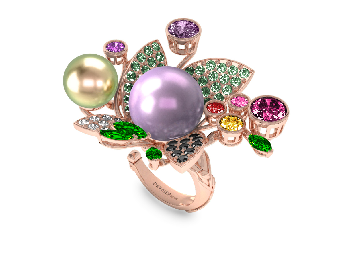 Bague Pearly Angel Mauve & Boréal - Saphirs, diamants, tsavorites & perles de Tahiti <br /> Or rose 18 carats