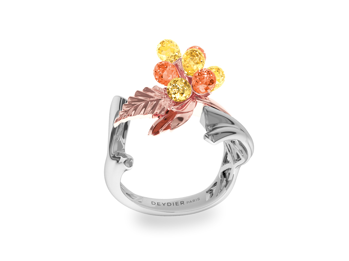 Bague Flowers Yellow & Orange - Saphirs briolettes jaunes & oranges - Or rose & blanc 18 carats