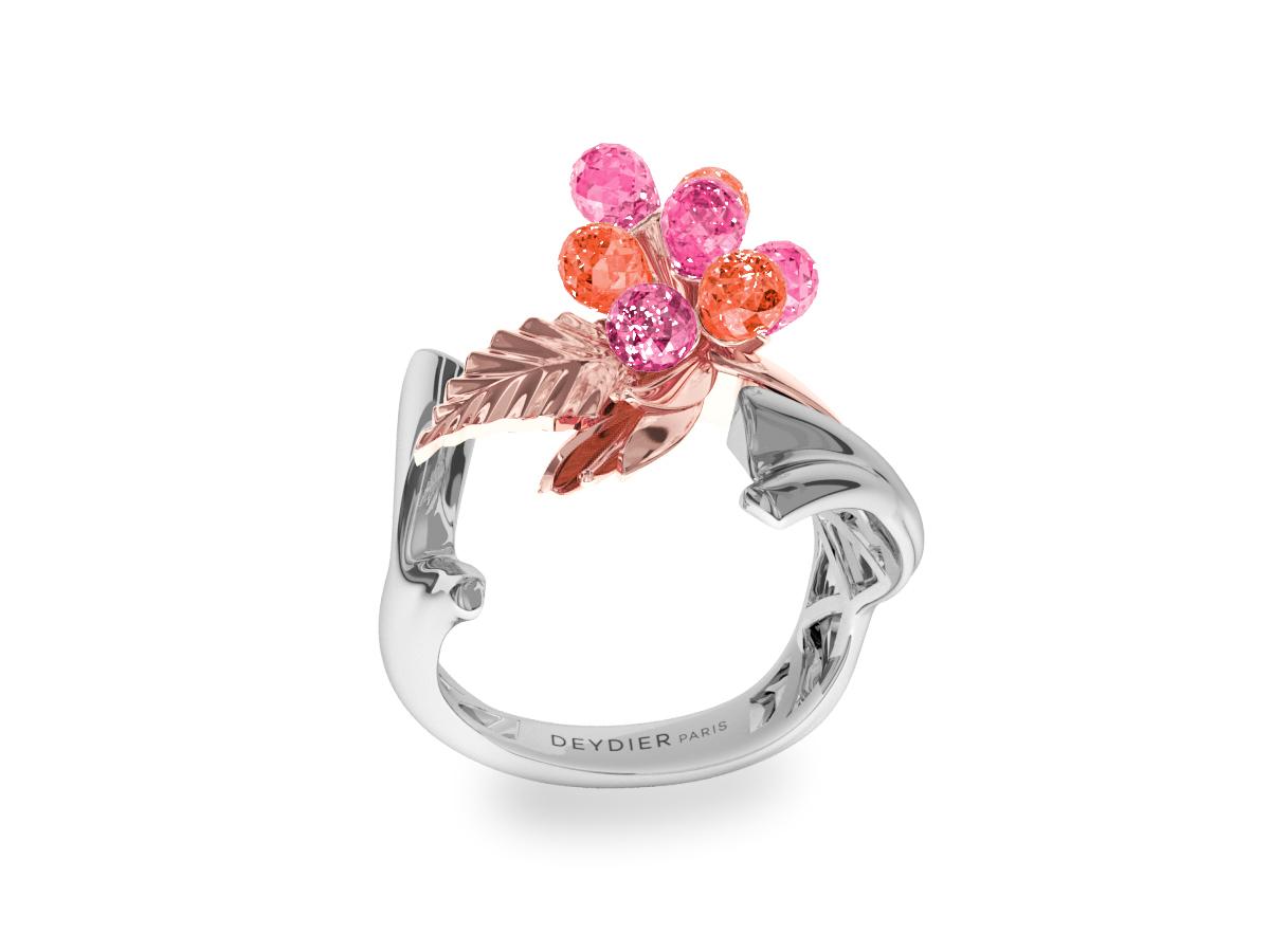 Bague Flowers Pink & Padparadsha - Saphirs briolettes roses & padparadsha - Or rose & blanc 18 carats