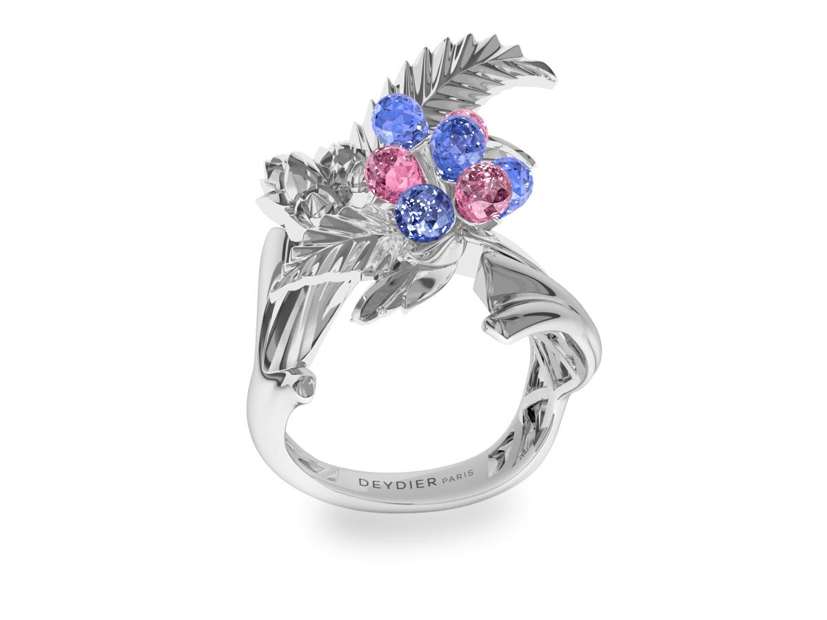 Bague Flowers Leaves Blue & Pink - Saphirs briolettes bleus & roses - Or blanc 18 carats
