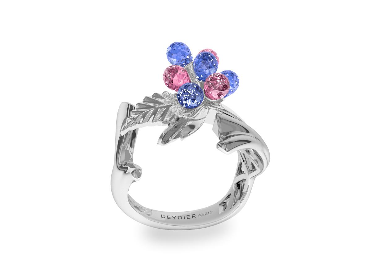 Bague Flowers Blue & Pink - Saphirs briolettes bleus & roses - Or blanc 18 carats