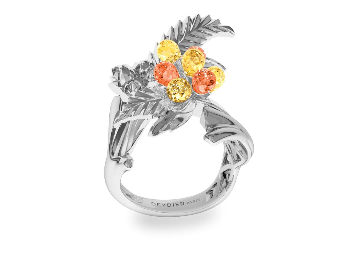 Bague Flowers Leaves Yellow & Orange - Saphirs briolettes jaunes & oranges - Or blanc 18 carats