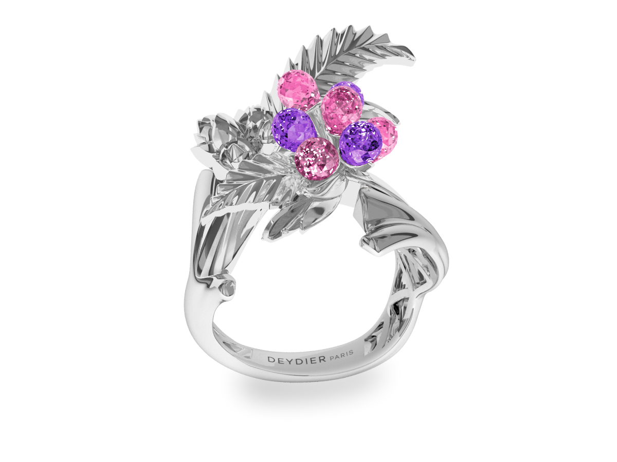 Bague Flowers Leaves Pink & Purple - Saphirs briolettes violets & roses - Or blanc 18 carats