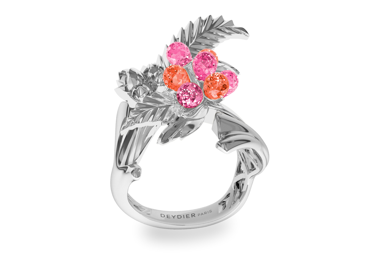 Bague Flowers Leaves Pink & Padparadsha - Saphirs briolettes roses & padparadsha - Or blanc 18 carats