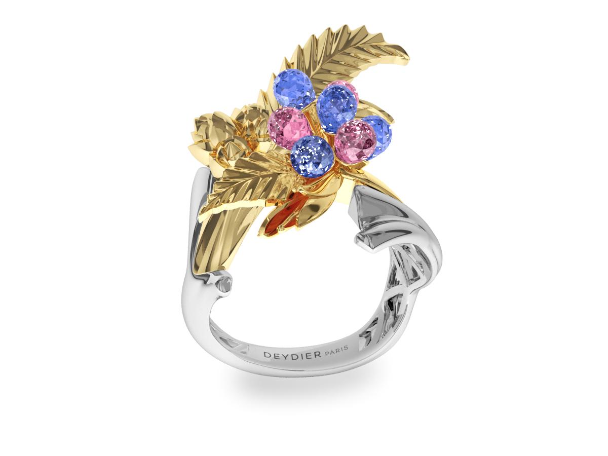 Bague Flowers Leaves Blue & Pink - Saphirs briolettes bleus & roses - Or blanc & jaune 18 carats