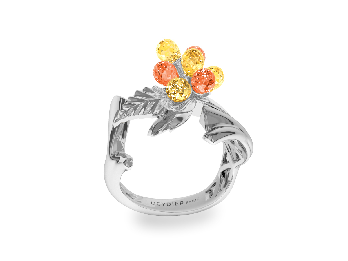 Bague Flowers Yellow & Orange - Saphirs briolettes oranges & jaunes - Or blanc 18 carats