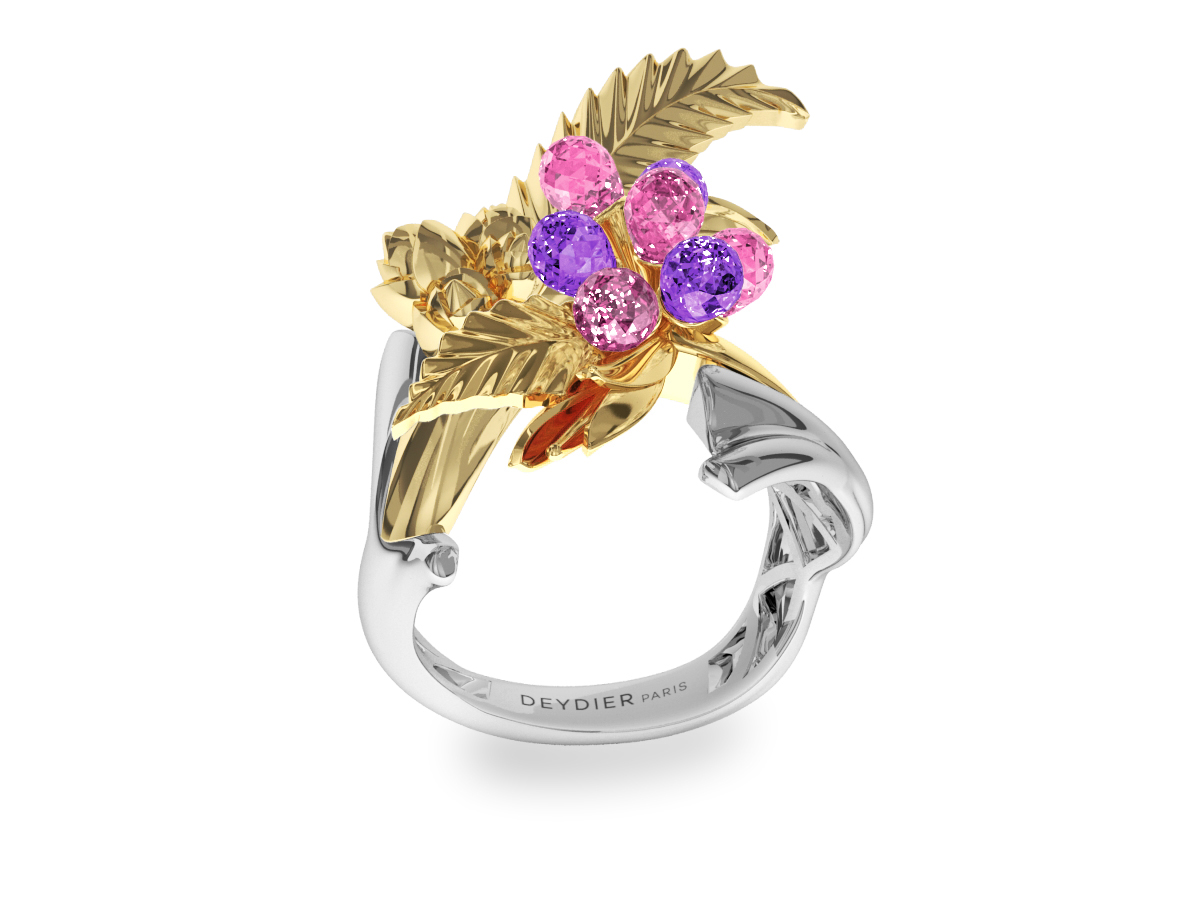 Bague Flowers Leaves Pink & Purple - Saphirs briolettes roses  & violets - Or blanc & jaune 18 carats