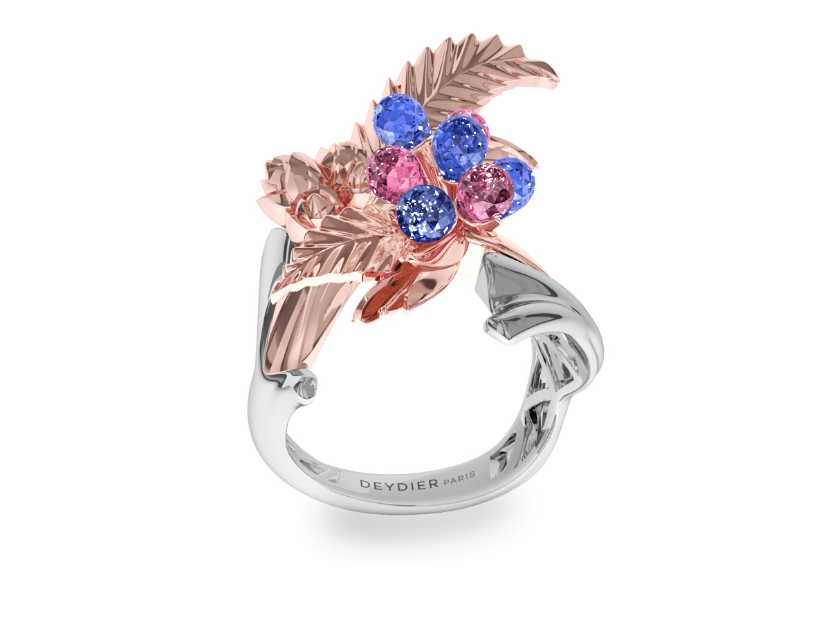 Bague Flowers Leaves Blue & Pink - Saphirs briolettes bleus & roses - Or blanc & rose 18 carats