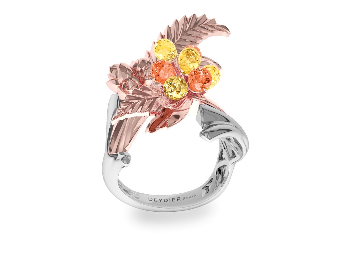 Bague Flowers Leaves Yellow & Orange - Saphirs briolettes jaunes & oranges - Or blanc & rose 18 carats