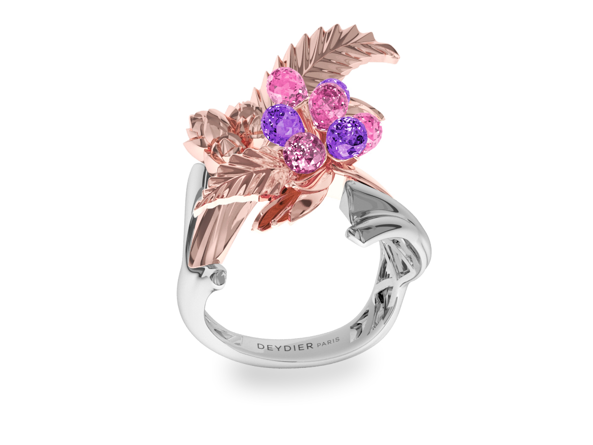 Bague Flowers Leaves Pink & Purple - Saphirs briolettes roses & violets - Or blanc & rose 18 carats
