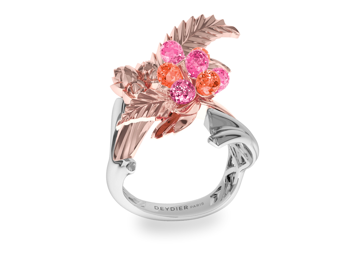 Bague Flowers Leaves Pink & Padparadsha - Saphirs briolettes roses & padparadsha - Or blanc & rose 18 carats