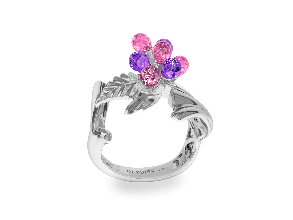 Bague Flowers Pink & Purple - Saphirs briolettes roses & violets - Or blanc 18 carats
