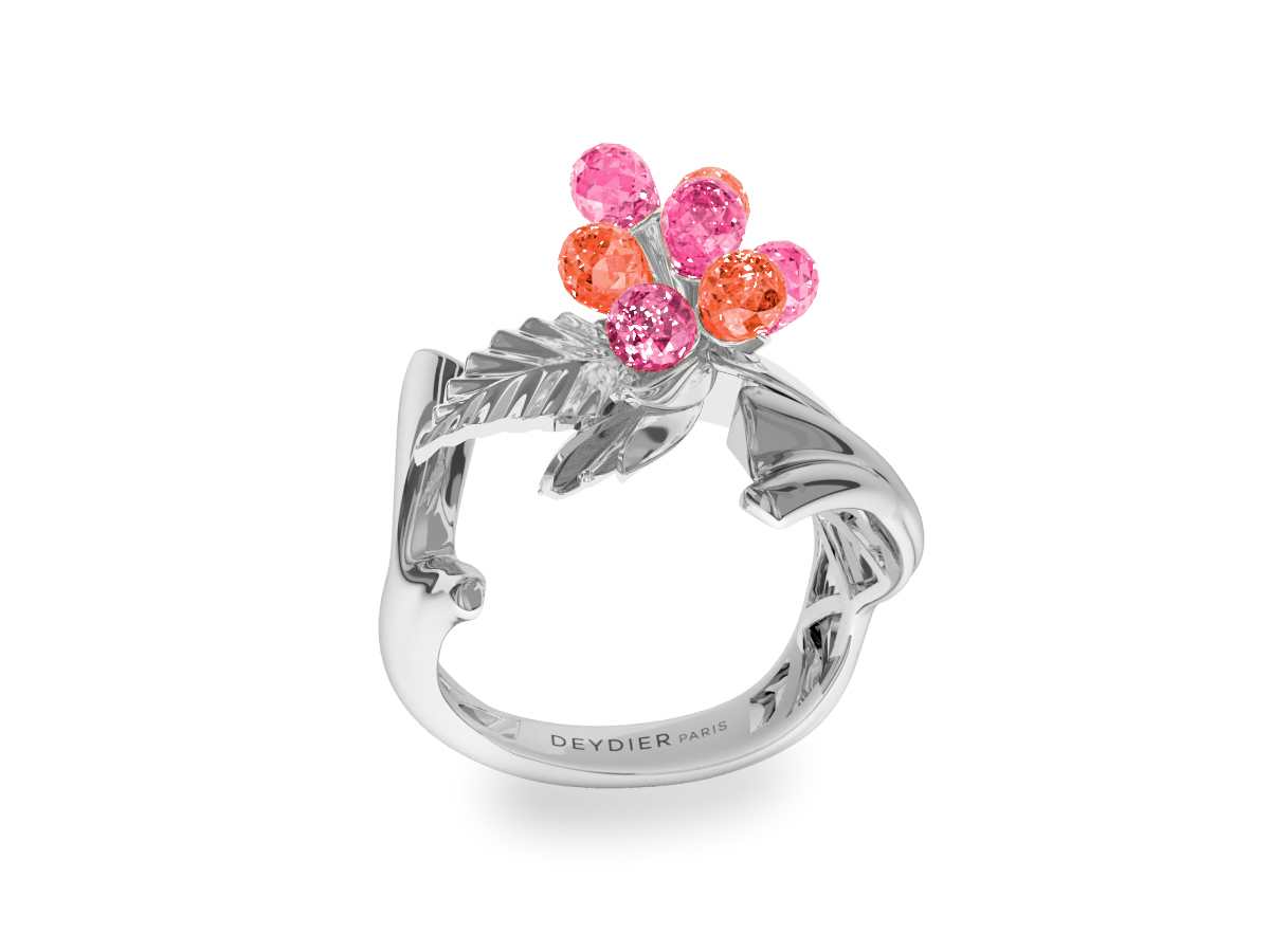 Bague Flowers Pink & Padparadsha - Saphirs briolettes roses & padparadsha - Or blanc 18 carats