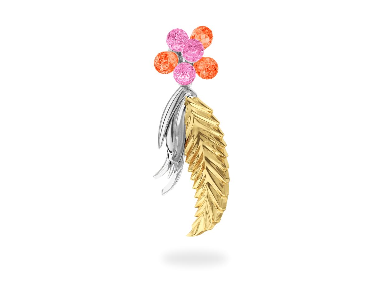 Pendentif Flowers Pink & Padparadsha -