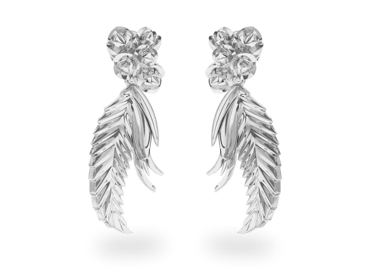 Boucles d'oreilles Paradise Leaf - Or blanc 18 carats