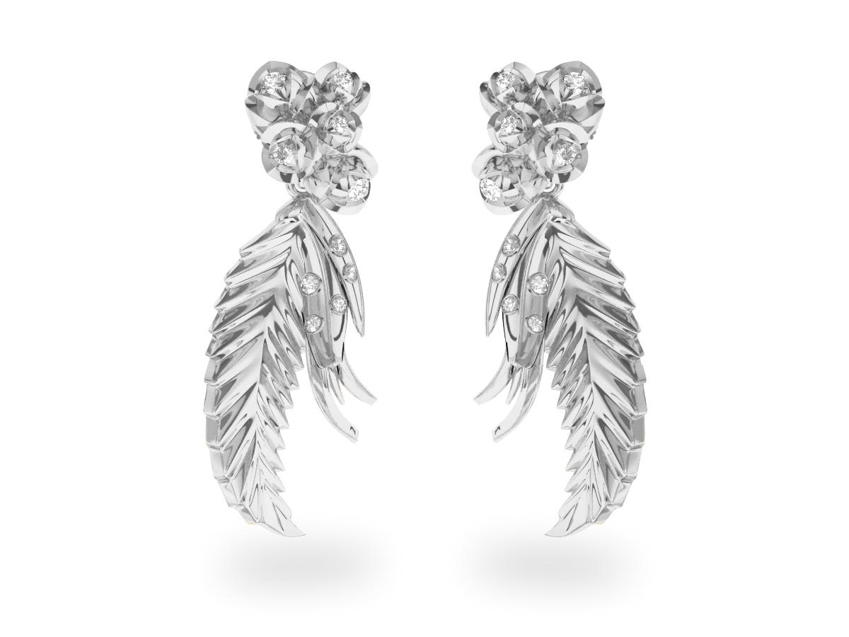 Boucles d'oreilles Paradise Leaf - Or blanc 18 carats - Diamants blancs