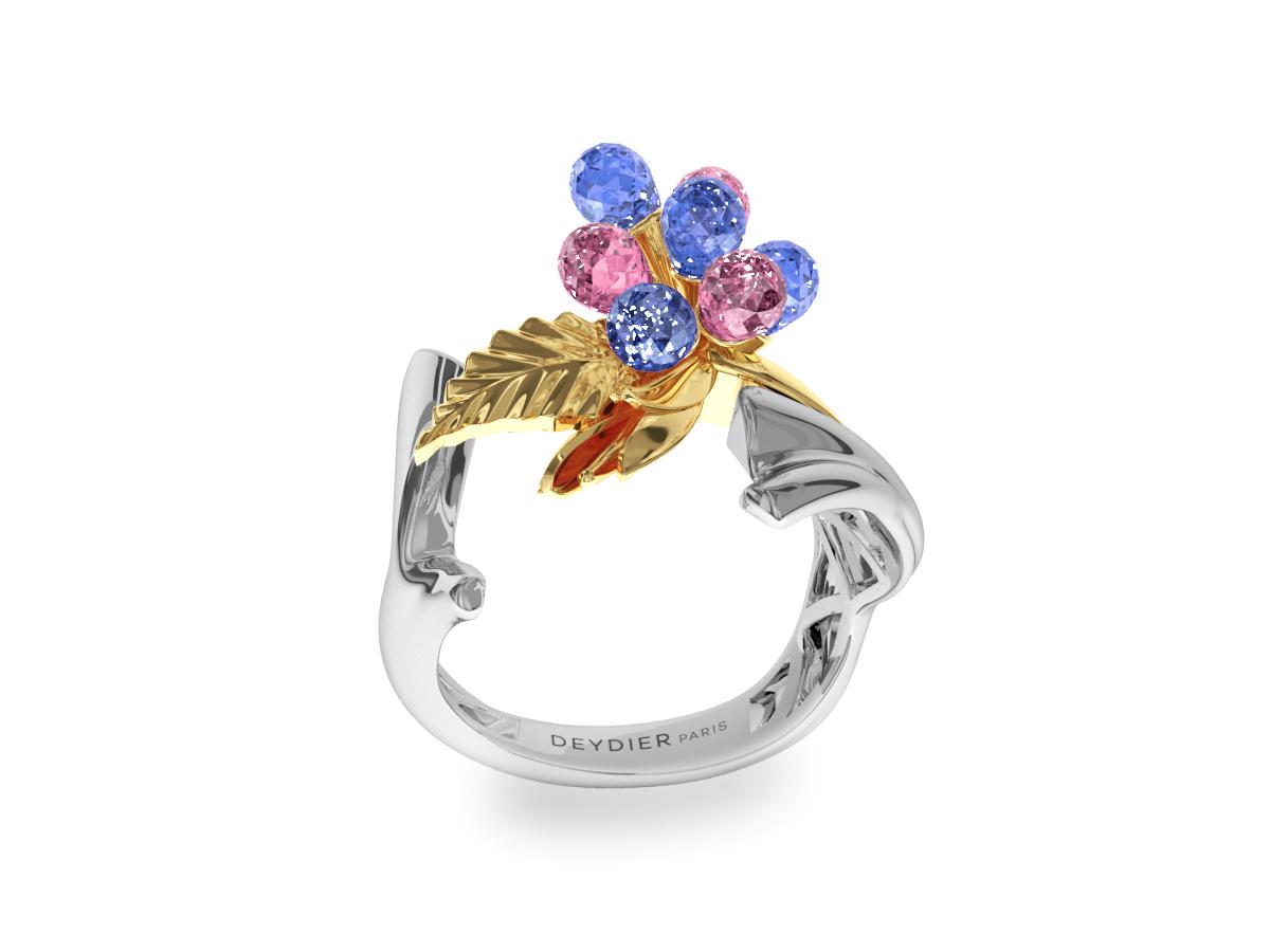 Bague Flowers Blue & Pink - Saphirs briolettes bleus & roses - Or blanc & jaune 18 carats