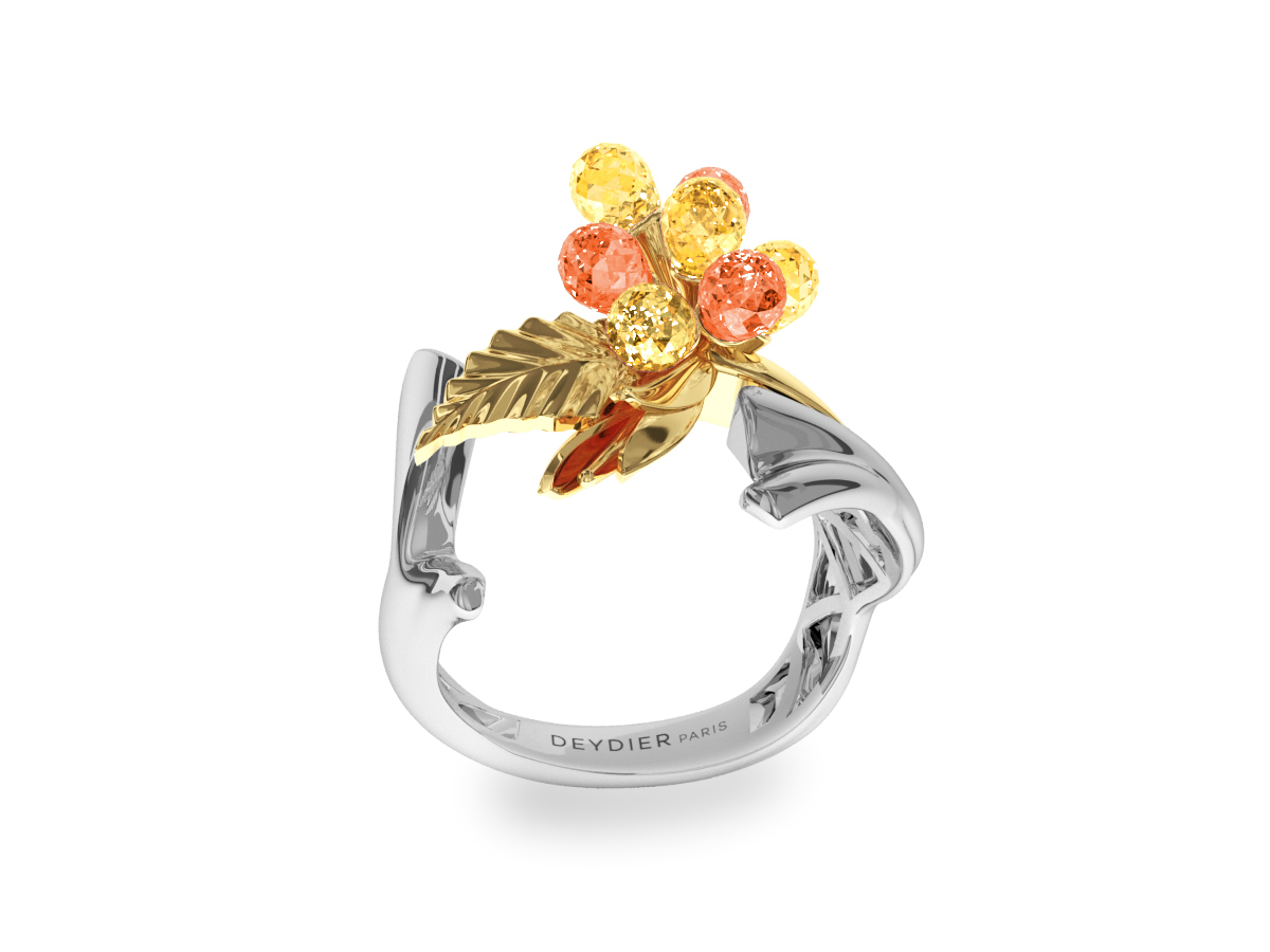 Bague Flowers Yellow & Orange - Saphirs briolettes jaunes & oranges - Or blanc & jaune 18 carats