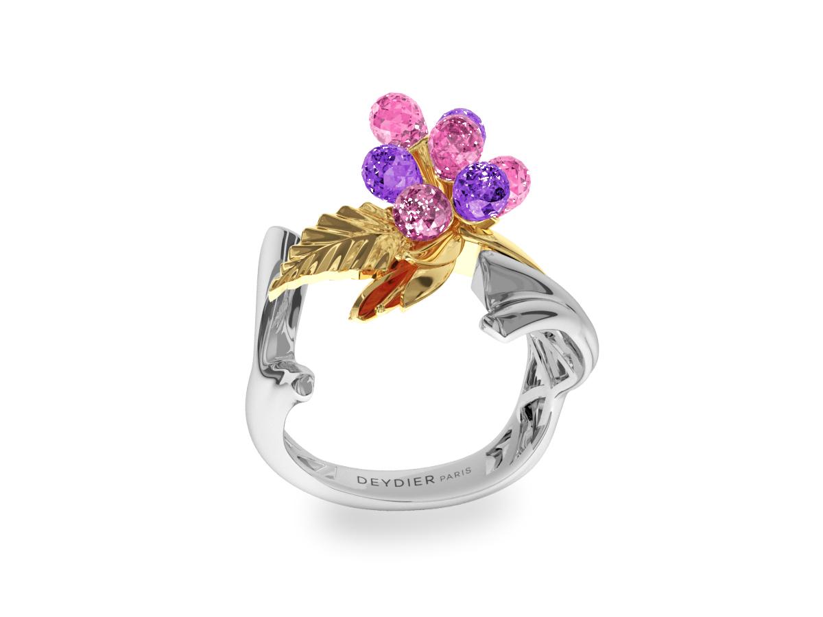 Bague Flowers Pink & Purple - Saphirs briolettes roses & violets - Or blanc & jaune 18 carats