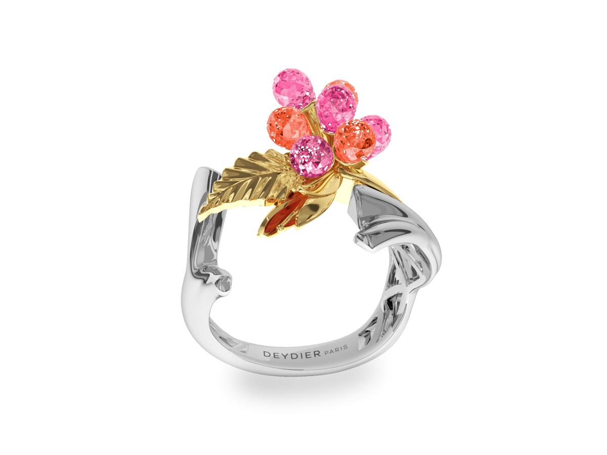 Bague Flowers Pink & Padparadsha - Saphirs briolettes roses & padparadsha - Or blanc & jaune 18 carats