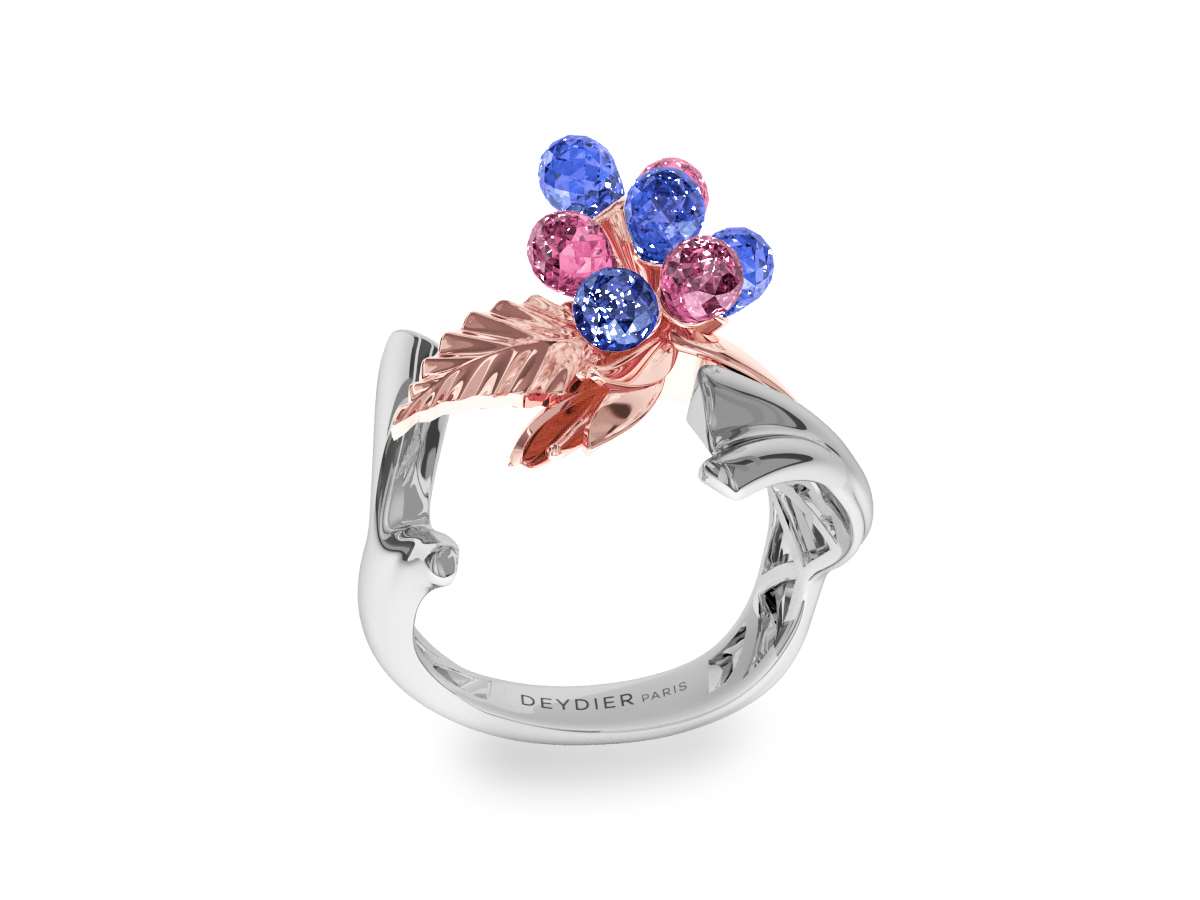Bague Flowers Blue & Pink - Saphirs briolettes bleus & roses - Or rose & blanc 18 carats