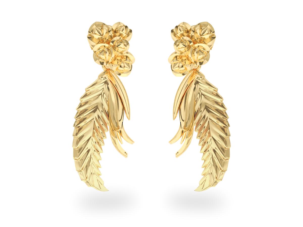 Boucles d'oreilles Paradise Leaf - Or jaune 18 carats